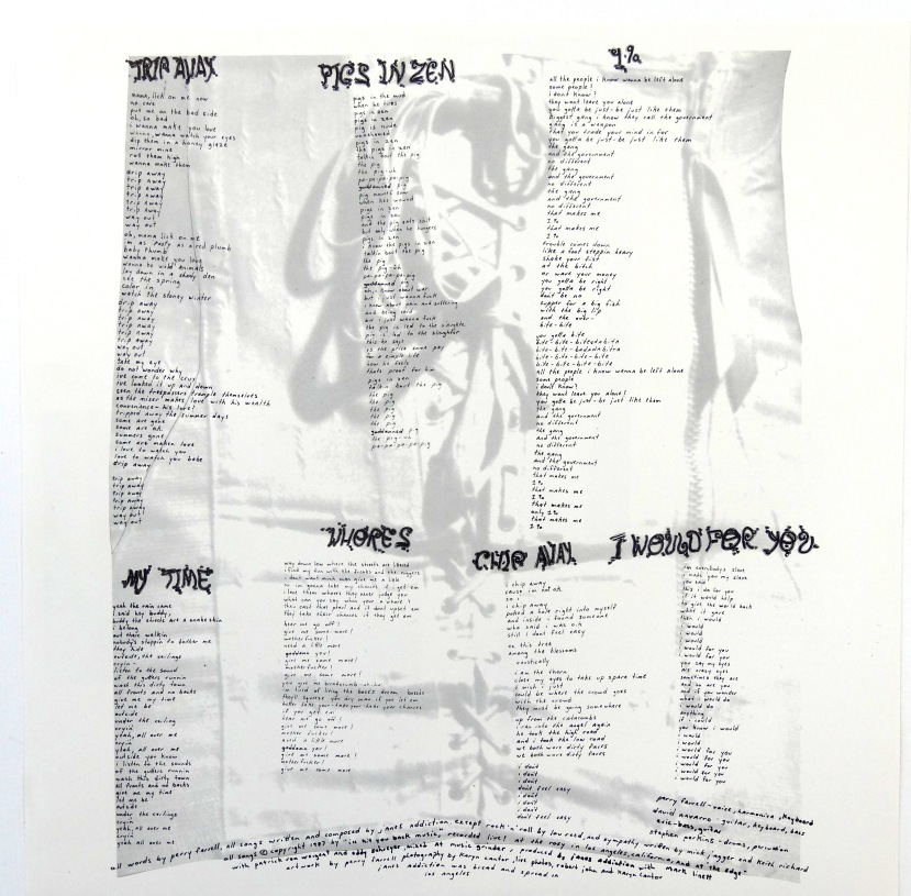 janes triple x colored vinyl lyric sheet 2