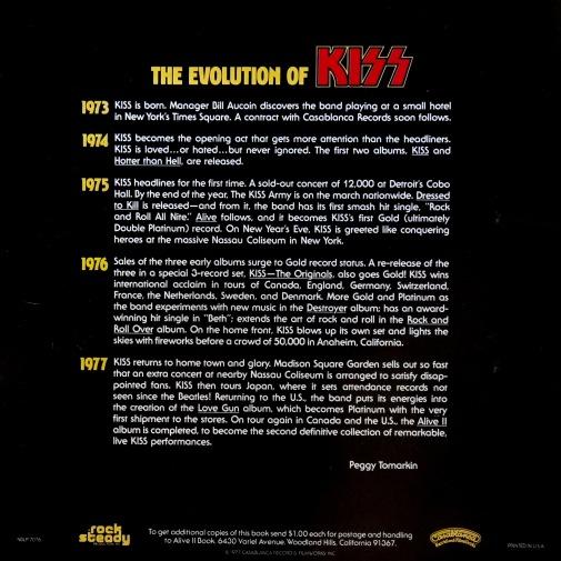 Alive II booklet back