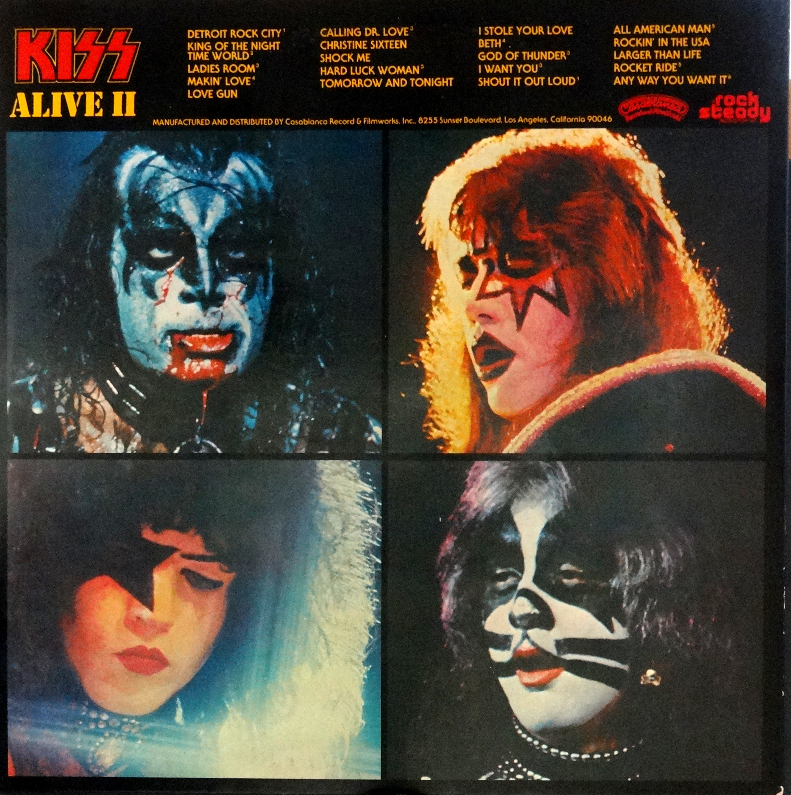 alive ii and kiss Following the success of alive i, kiss came up with alive ii, a set consisting of 20 songs, 15 of which were actually recorded live in new york city and the.
