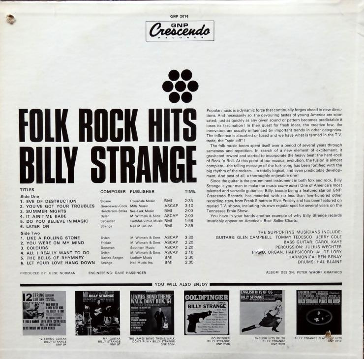 Billy Strange Folk Rock Hits back