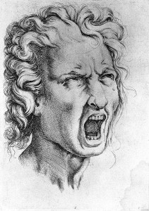 L0013242 Head of a man screaming. Engraving after Michelangelo.