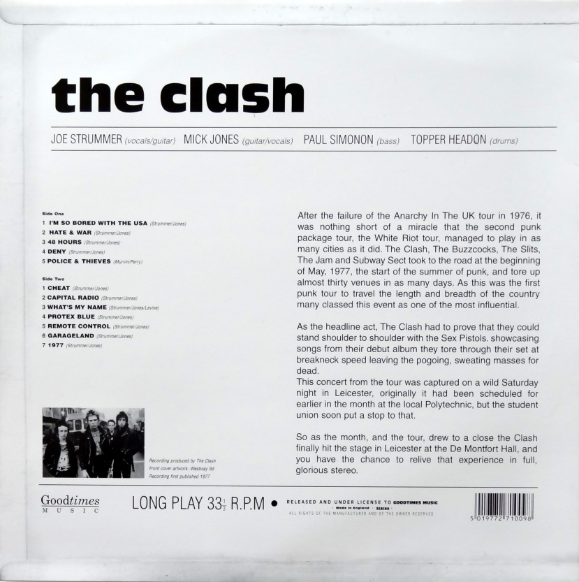 Clash White Riot Tour back