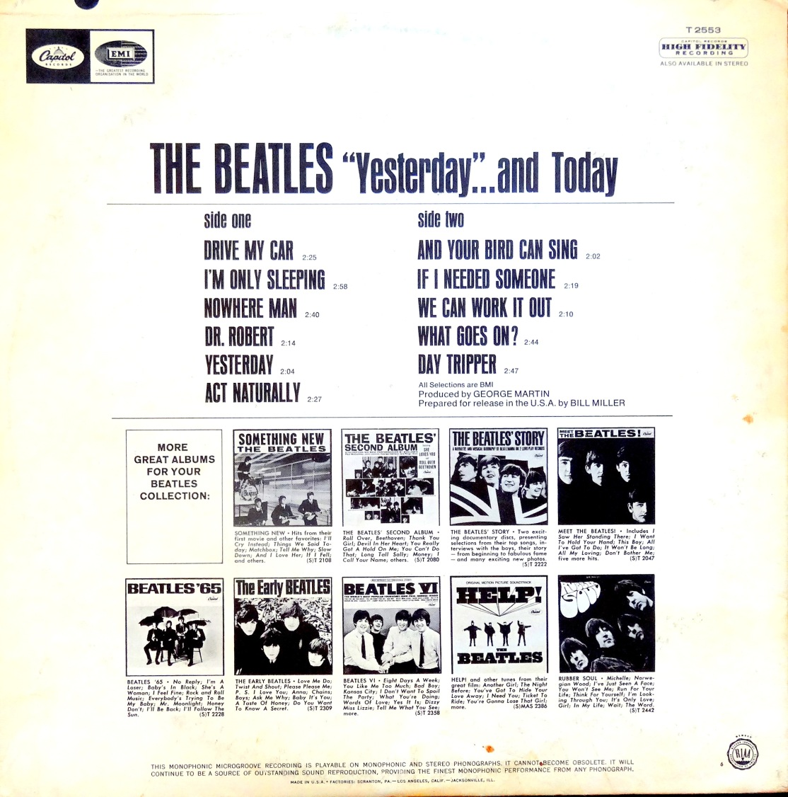 Beatles Yesterday and Today back