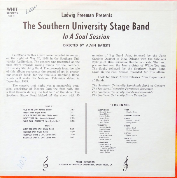 Southern University Stage Band back