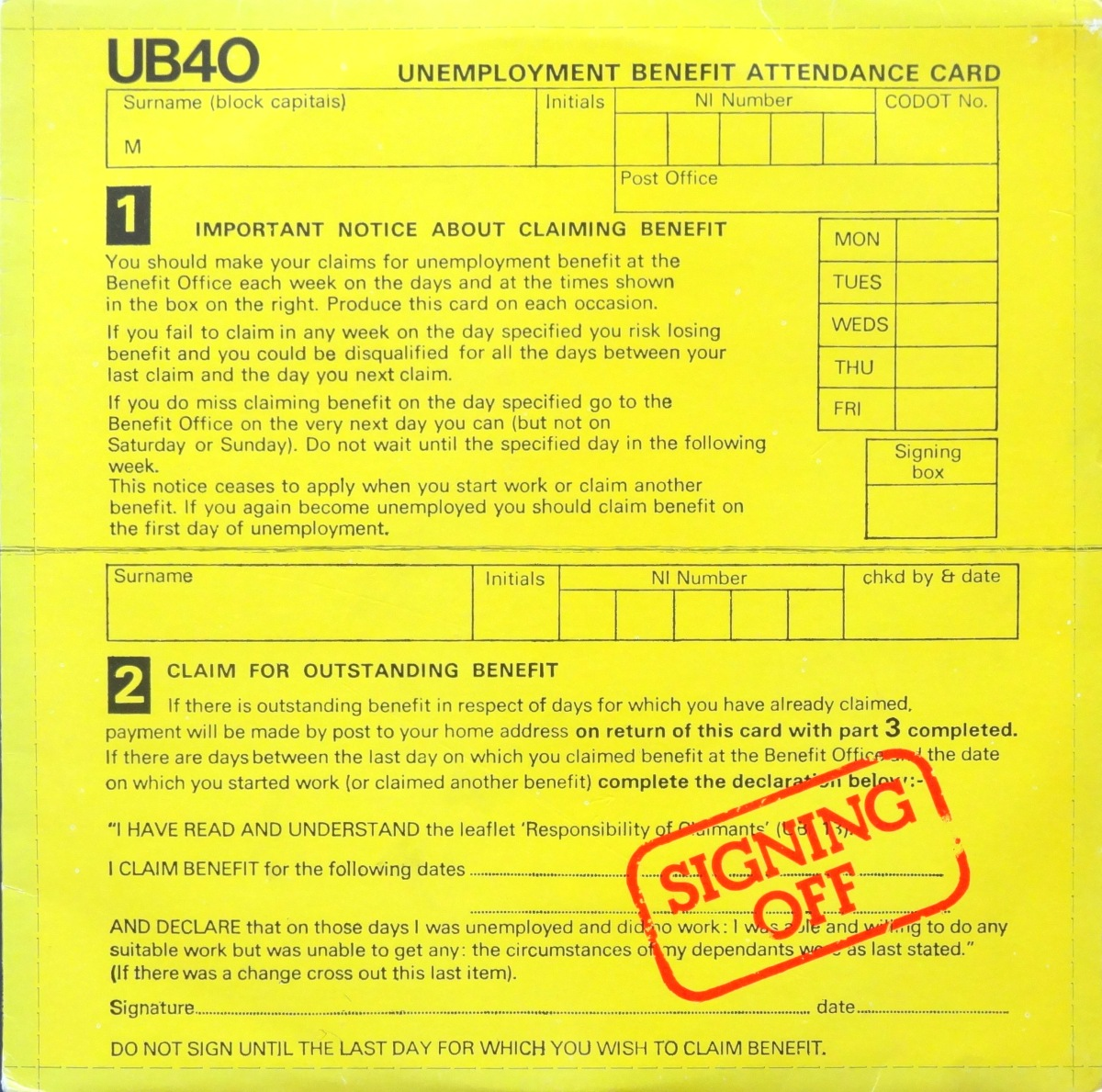 From The Stacks: UB40, 'Signing Off'