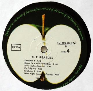 Beatles White Album German label